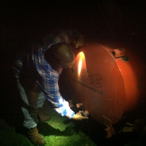 Checking the sprayer tank